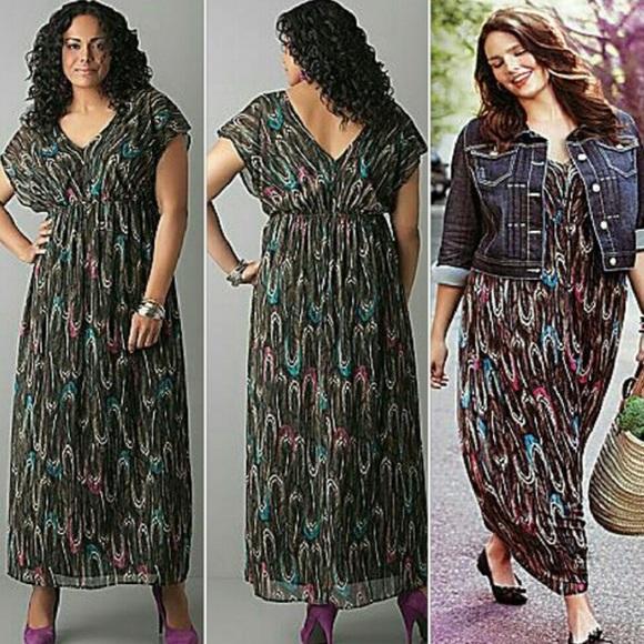 fbfde03cfa8 Lane Bryant Dresses   Skirts - Lane Bryant Feather Maxi Dress Size 26 28